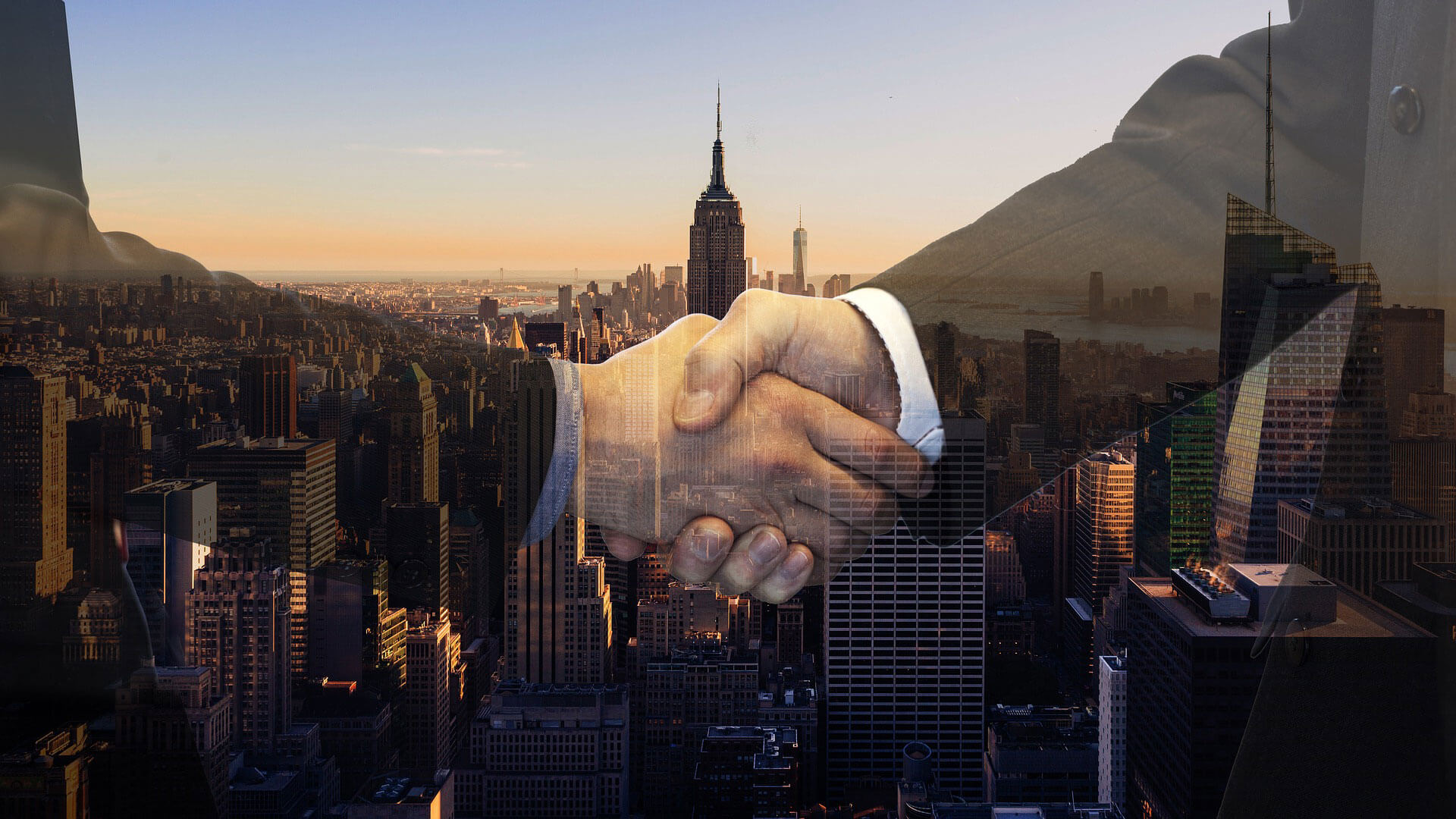 Shaking hands with global clients